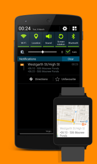 Stop notification with upcoming departures on phone and Android Wear