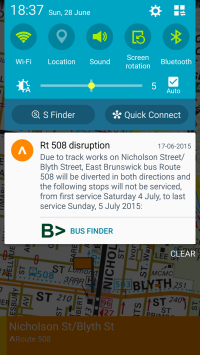 Disruptions pushed from the PTV API